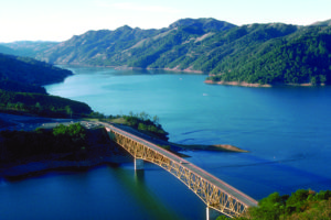 Ariel view of Lake Sonoma with a bridge in the foreground.
